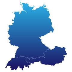 Deutschland, Österreich und Schweiz in blau
