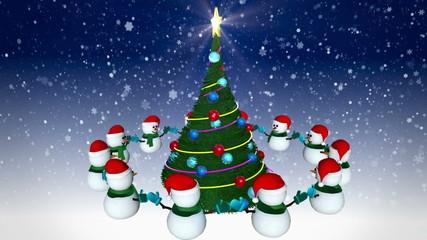 Snowmen rotating around christmas tree. Loop animation.