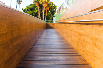 Wooden disabled ramp.