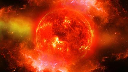 Sun in universe or space or galaxy in a nebula cloud
