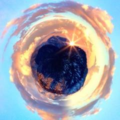 Circular view of a sunset in Big Bear Mountain