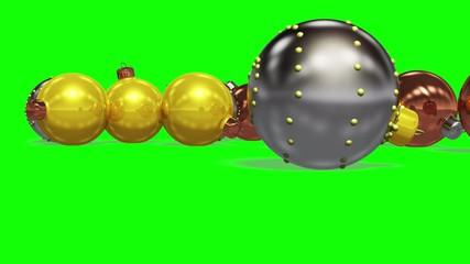 Christmas balls on the green screen