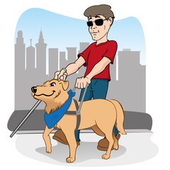 Handicapped person walking led by a guide dog