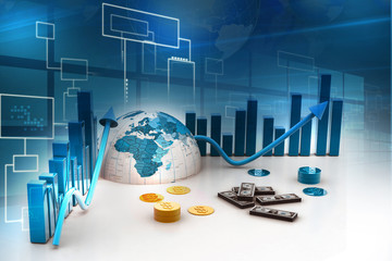 3d business graph with half earth and dollars