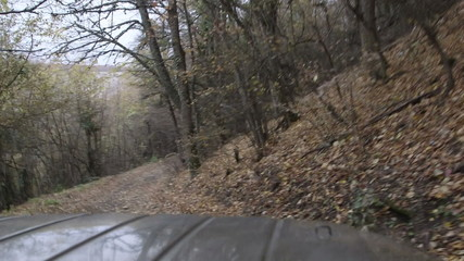 Driving off-road vehicle on dirt track through fall forest