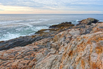 Rock ledges and sea at Pemaquid Point, Maine