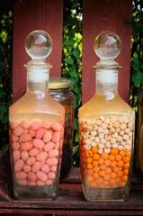 glass clip jars on shelves