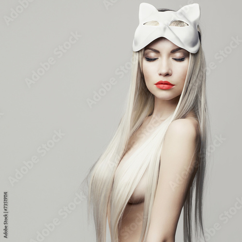 Foto op Aluminium Akt Sexy blonde in cat mask