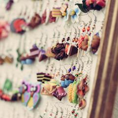 Shop display of fancy handmade bijou earrings