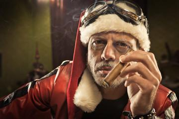 Bad Santa smoking a cigar
