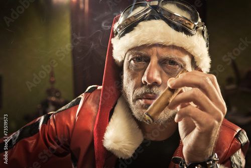 Bad Santa smoking a cigar - 73519573