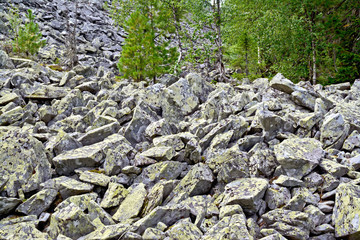 Stones with yellow mold at the foot of the mountain