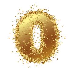 Goldene Zahl, Null, 0, Sterne, Glamour, Gold, Nummer, Ziffer
