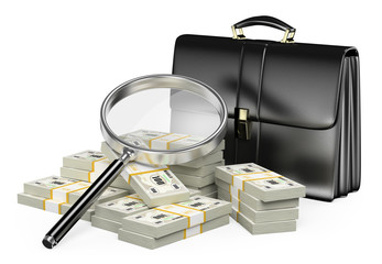 3D Looking for money with magnifying glass concept