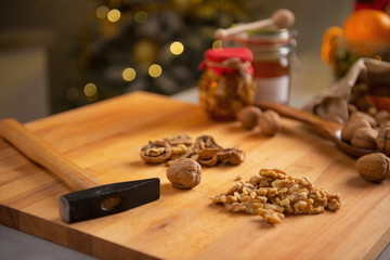 Closeup on walnuts on cutting board