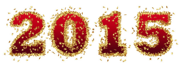 Jahreszahl, 2015, Neujahr, Gold, Rot, Sterne, Glamour, funkeln