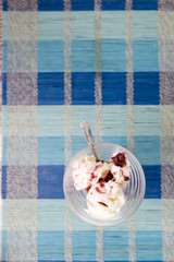 Glass bowl of icecream with raspberry topping