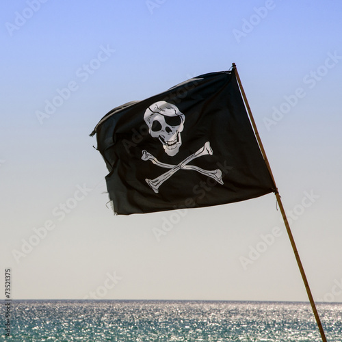 Poster pirate flag waving with blue sea background