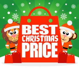 Best Christmas Price card with lion and monkey ,vector