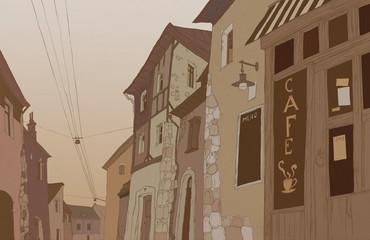 Graphic sketch depicting traditional urban European landscape
