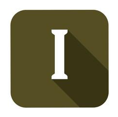 Letter i alphabet, flat icon