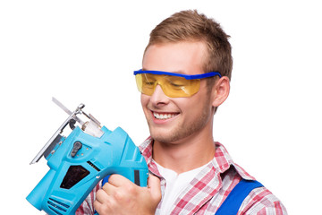 Smiling repairman with tool
