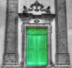 church entrance in selective desaturation