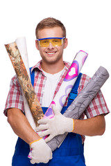 Smiling repairman with wallpaper