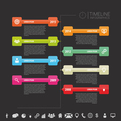 Timeline infographic template. Vector with icons