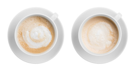 Coffe latte or cappuccino cup top view isolated on white
