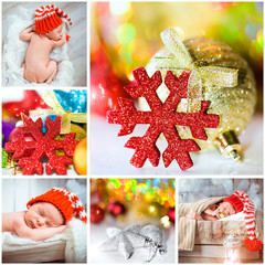 Christmas photo with a newborn baby