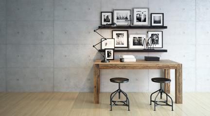 Schreibtisch in schlichtem Raum - desktop in minimalistic room