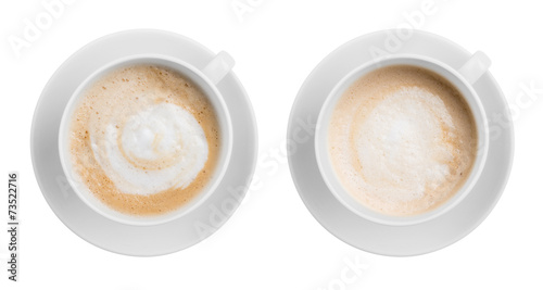 Foto op Canvas Koffie Coffe latte or cappuccino cup top view isolated on white