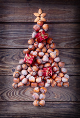 Christmas tree made of hazelnuts