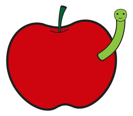 Cartoon Worm with Apple