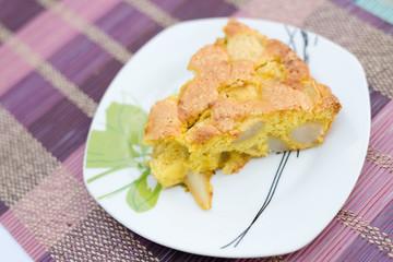 Piece of tasty biscuit apple pie