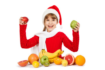 girl with fruit on white background