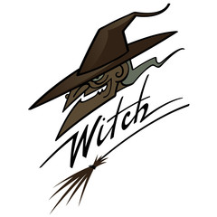 Old scary witch in hat with wooden broom