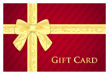 Red gift card with golden ribbon with floral pattern