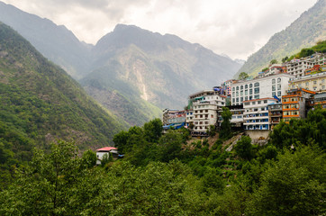 Houses on the mountain slopes. Zhangmu. China