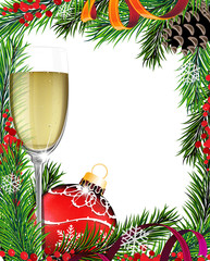 Glass of champagne and Christmas tree branches