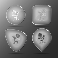 Ethnic little man as shaman. Glass buttons. Vector illustration.