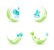 Ecological icons with plants and water droplets