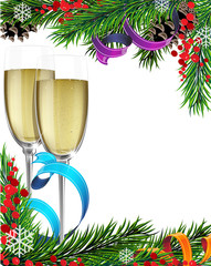 Glasses of champagne and Christmas tree branches
