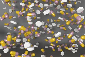 Cascade of many pills.