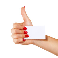 Hand with business card shows thumb, isolated on white bac