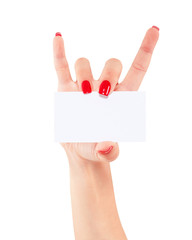 Women hand holding card