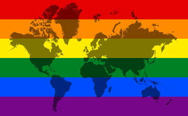 World Map with LGBT Flag