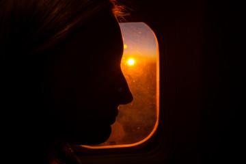Flug im Sonnenuntergang