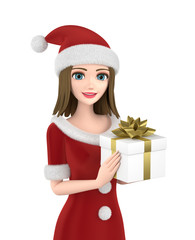 Portrait of beautiful girl wearing Santa Claus clothes